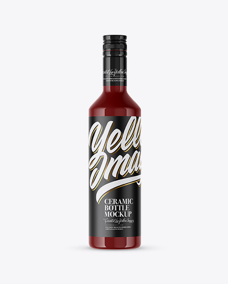 Glossy Ceramic Bottle With Paper Label Mockup