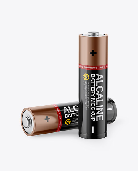 2 AA Batteries Mockup - Half Side View