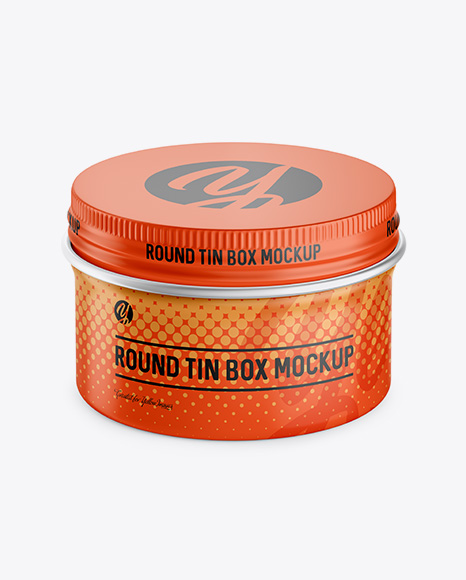 Download Round Tin Box with Matte Finish Mockup (High-Angle Shot) Object Mockups