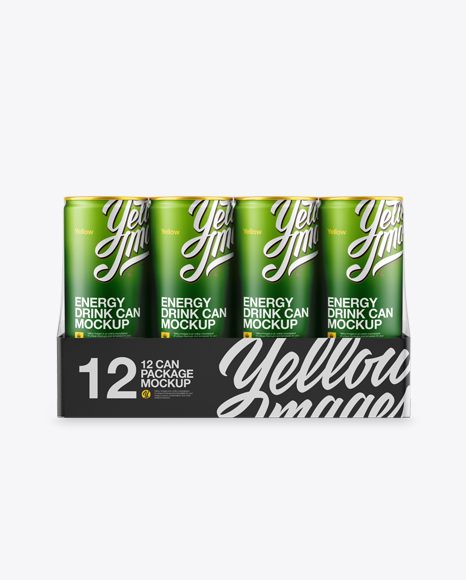 Download Transparent Pack with 12 Matte Aluminium Cans Mockup - Front View Object Mockups