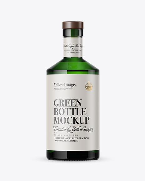 Download Green Glass Bottle Mockup Object Mockups