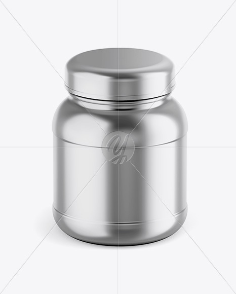 Metallic Protein Jar Mockup - Front View (High-Angle Shot)