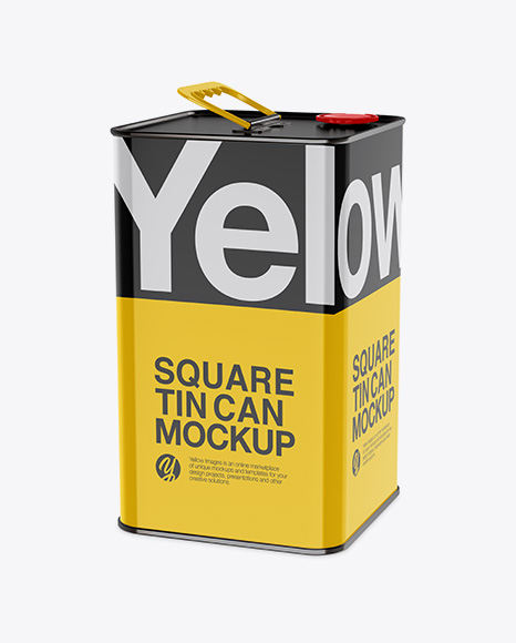 Download Glossy Square Tin Can Mockup - Half Side View Object Mockups