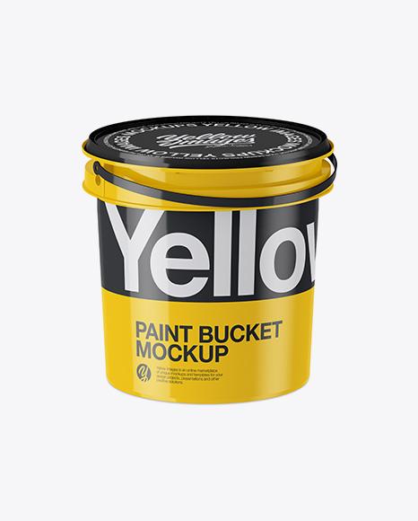 Download Glossy Plastic Paint Bucket Mockup Half Side View High Angle Shot PSD - Free PSD Mockup Templates