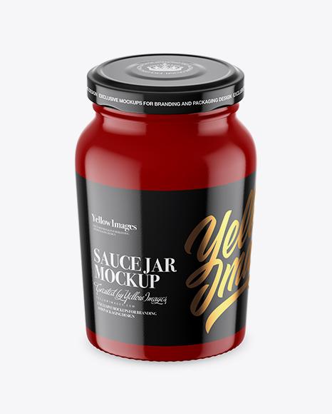 Download Glossy Sauce Jar Mockup - High-Angle Shot Object Mockups