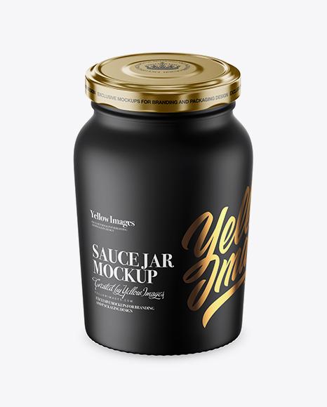 Download Matte Sauce Jar Mockup (High-Angle Shot) Object Mockups