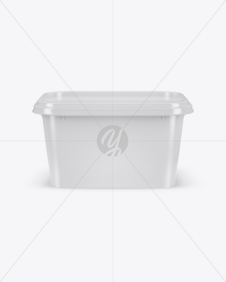 Glossy Plastic Container Mockup - Front View