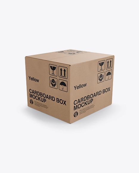 Download Cardboard Box Mockup Half Side View In Box Mockups On Yellow Images Object Mockups PSD Mockup Templates