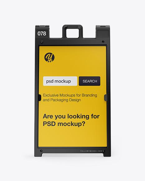 Download Plastic Sign A-Frame Mockup - Front View Object Mockups