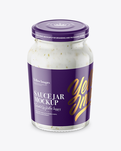 Download Clear Glass Jar with Garlic Sauce Mockup Object Mockups