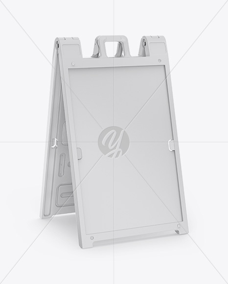 Plastic Sign A-Frame Mockup - Right Half Side View