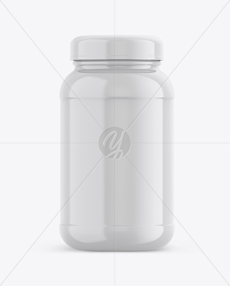 Glossy Plastic Protein Jar Mockup - Front View