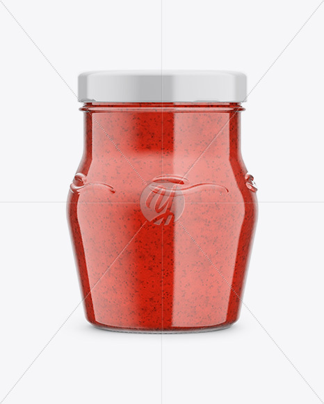Glass Jar with Strawberry Marmalade Mockup - Front View