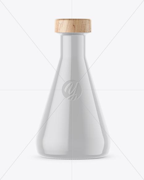 Beaker Shaped Glossy Ceramic Bottle with Wooden Cap Mockup