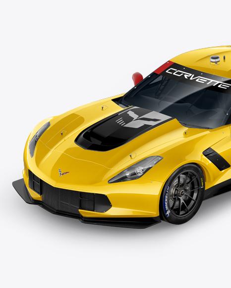 Download Free Chevrolet Corvette C7R Mockup - Half Side View PSD Template