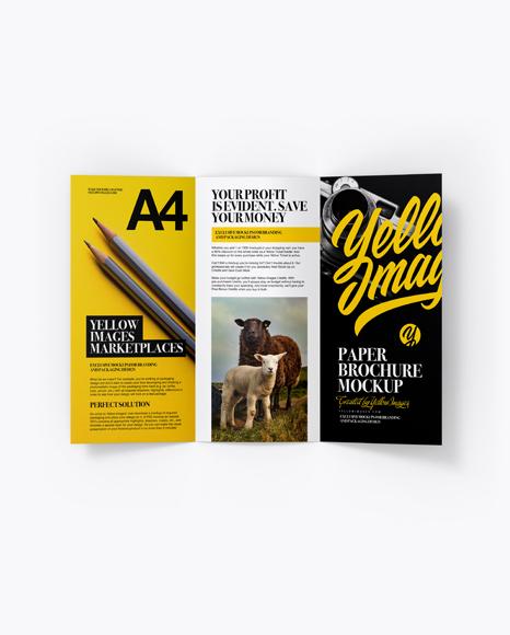 A4 Brochure Mockup - Top View