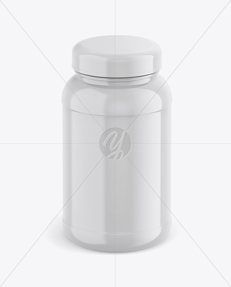 Glossy Plastic Protein Jar Mockup - Front View (High-Angle Shot)