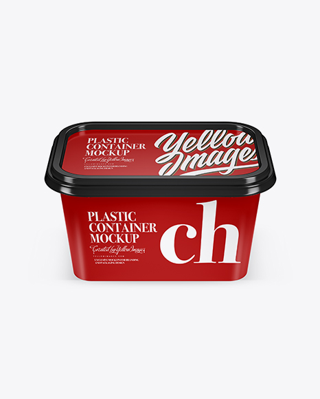 Download Free Glossy Plastic Container Mockup (High-Angle Shot) PSD Template