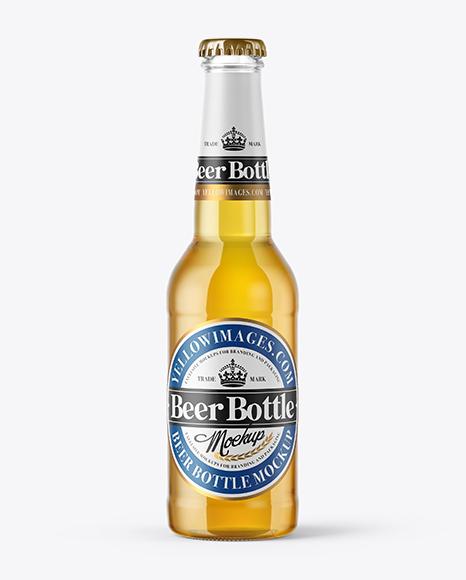 Download 275ml Clear Glass Lager Beer Bottle Mockup Object Mockups