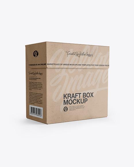 Download Kraft Gift Box Mockup Half Side View Eye Level Shot PSD - Free PSD Mockup Templates