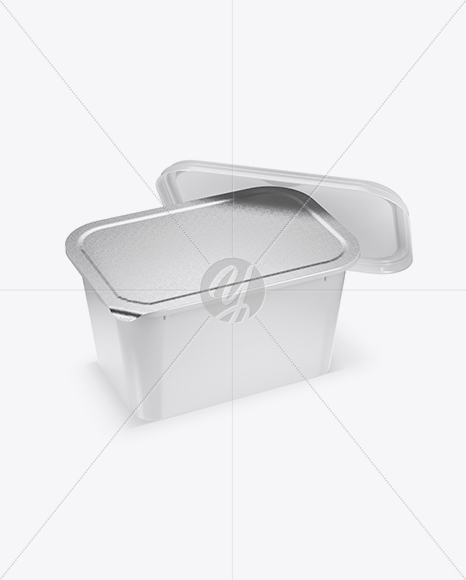 Opened Glossy Plastic Container Mockup - Half Side View