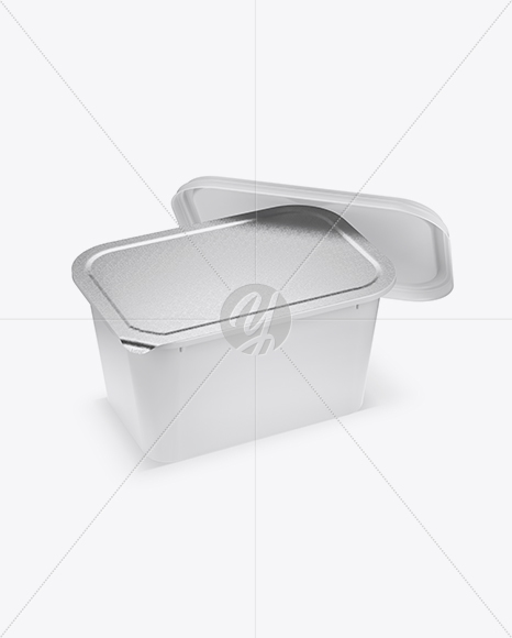 Opened Matte Plastic Container Mockup - Half Side View