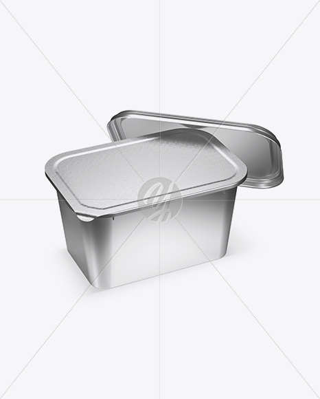 Opened Metallic Container Mockup - Half Side View