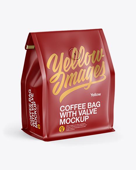 Coffee Bag With Valve Mockup