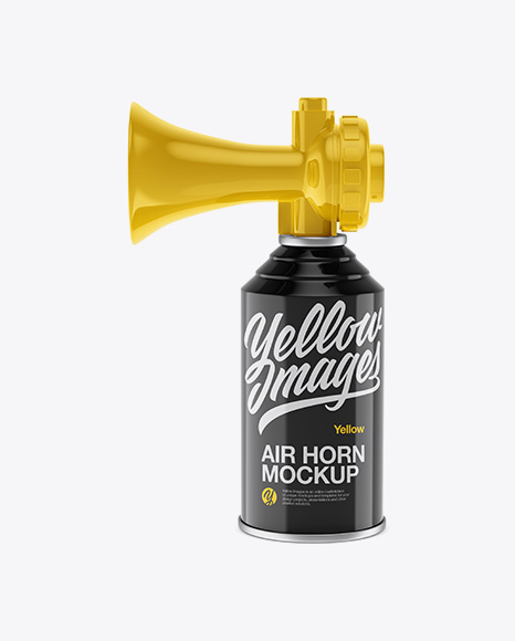 Download Portable Air Horn Glossy Can Mockup - Half Side View Object Mockups