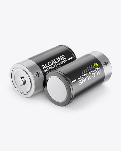 Download Two D Batteries - Half Side View Object Mockups
