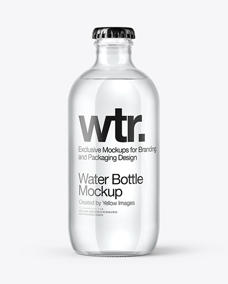 330ml Clear Glass Water Bottle Mockup In Bottle Mockups On Yellow