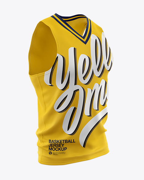 Download Basketball Jersey With V Neck Mockup Half Side View Yellow Images