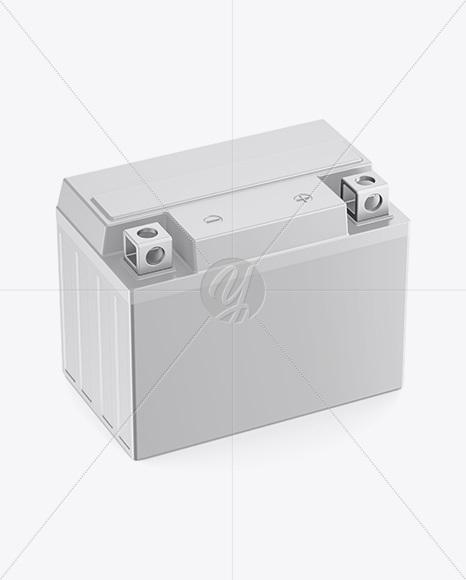 Automotive Battery Mockup - Halfside View (High-Angle Shot)