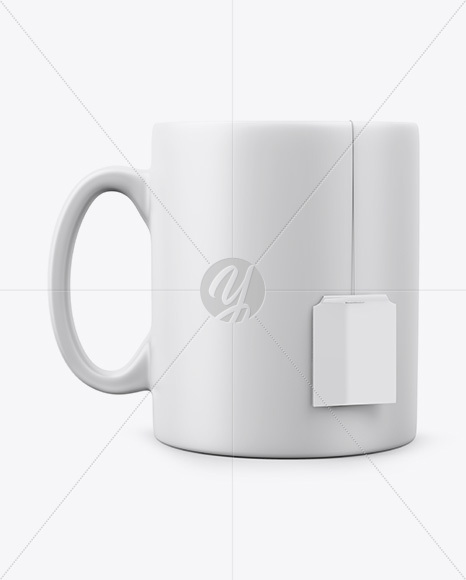 Matte Mug With Tea Label Mockup - Front View