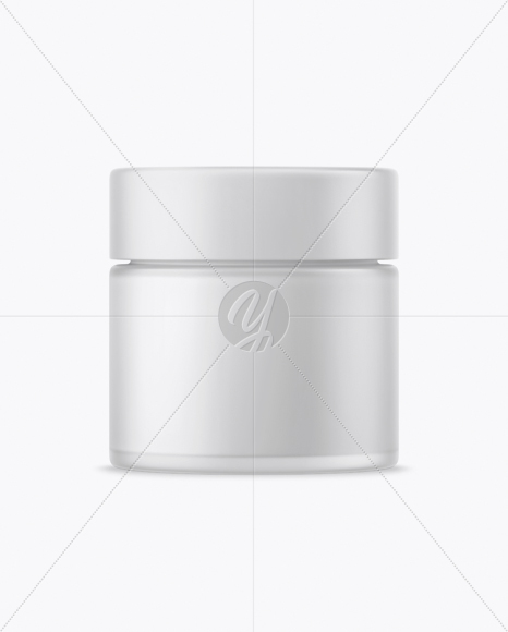 Frosted Glass Cream Jar Mockup - Front View