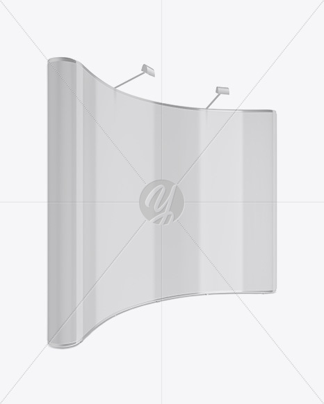 Glossy Aluminium Spring Pop-Up Stand Mockup - Half Side View