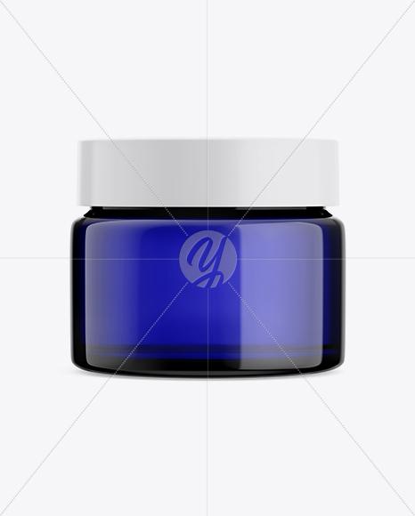 Download Opened Dark Blue Glass Cosmetic Jar Mockup PSD - Free PSD Mockup Templates