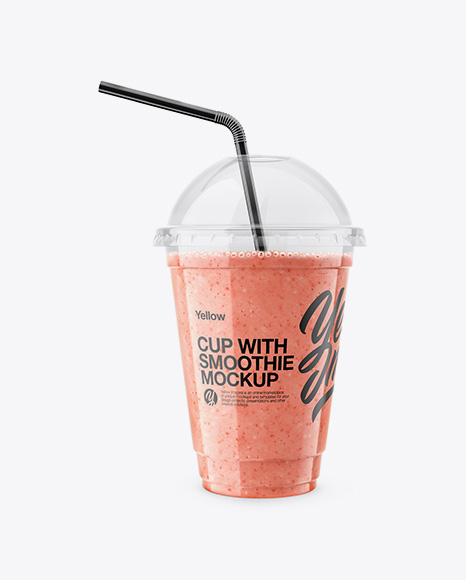Download Raspberry, Strawberry & Apple Smoothie Cup with Straw Mockup Object Mockups