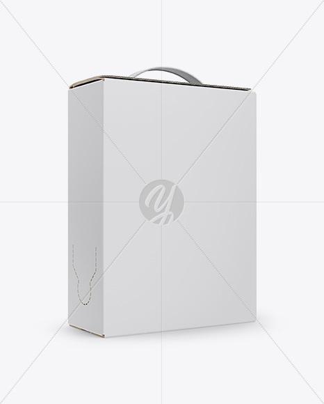 Carton Box with Handle Mockup - Half Side View in Box Mockups on