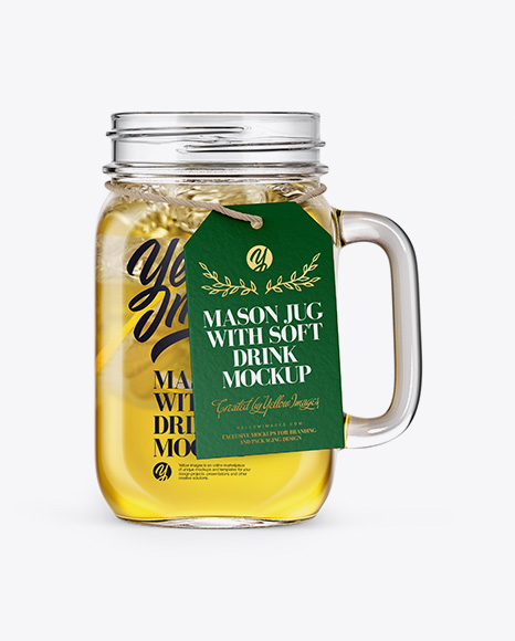 Download Free Opened Mason Jug with Lemonade Mockup - Front View PSD Template