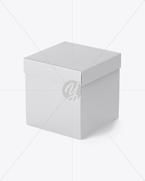 Matte Square Box Mockup - Half Side (High-Angle Shot)