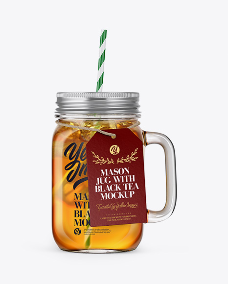 Closed Mason Jug with Straw and Label Mockup (Black Tea)