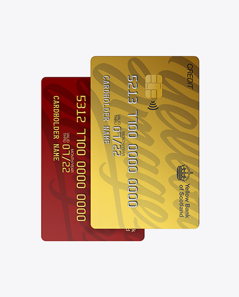 Download Matte Plastic and Metallic Credit Cards Mockup - Front View Object Mockups