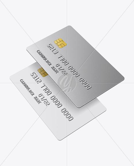 matte plastic and metallic credit cards mockup half side view - Plastic Credit Card