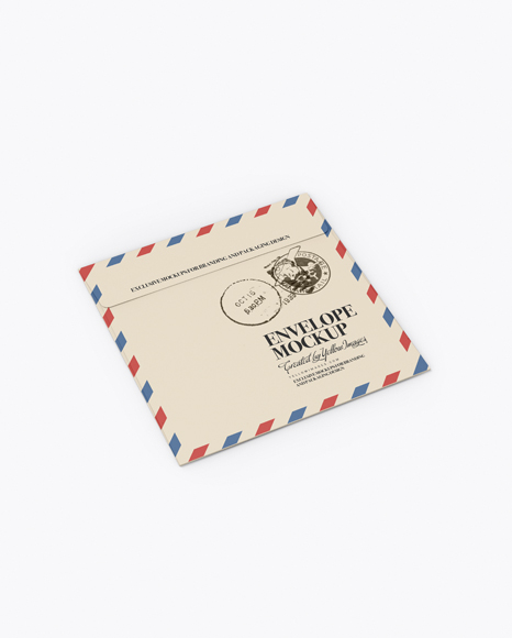 Download Paper Envelope Mockup - Back Half Side View (High-Angle Shot) Object Mockups