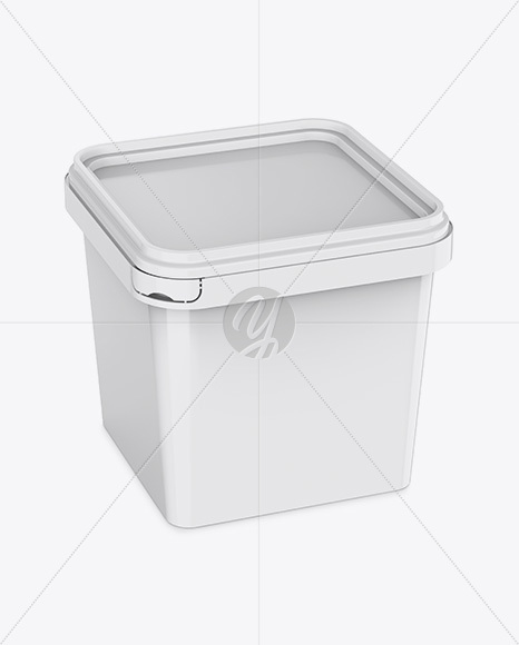 Glossy Plastic Container Mockup - Half Side View (High-Angle Shot)