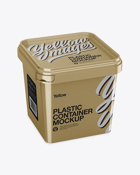 Metallic Plastic Container Mockup - Half Side View (High-Angle Shot)