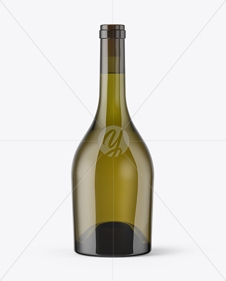 Antique Green Glass Bottle With White Wine Mockup