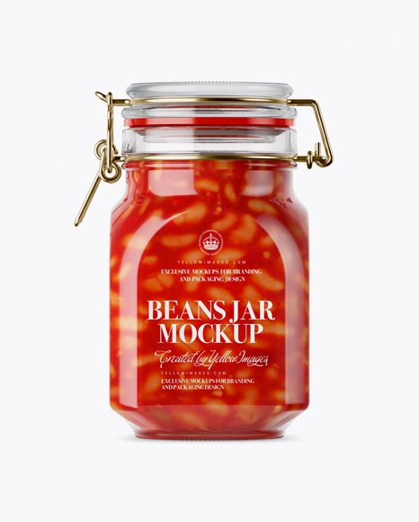Download Free 900ml Beans Glass Jar w/ Clamp Lid Mockup PSD Template