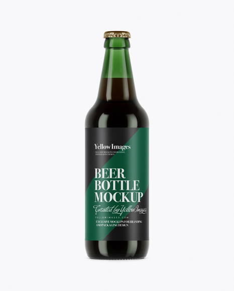 Download Free Green Glass Brown Ale Bottle Mockup PSD Template